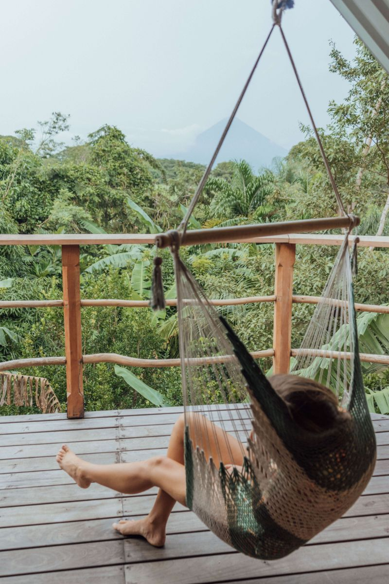 Relax in the hammocks overlooking Conception Volcano, on your private balcony and viewing deck